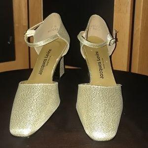 VINTAGE  Jaques Levine Metallic Gold Strap Heels